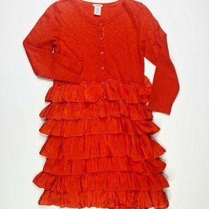 Crewcuts J Crew Girls Ruffle Hem Red Dress 12